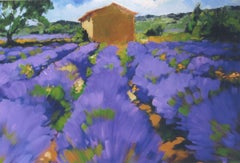 """Lavender and Cabanon "" Contemporary Impressionist Oil Painting of Provence"