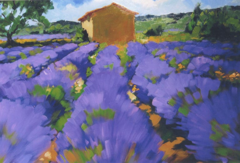 "Maria Bertan Landscape Painting - ""Lavender and Cabanon "" Contemporary Impressionist Oil Painting of Provence"