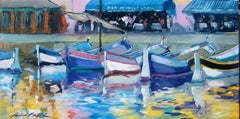 """""""Quayside Sanary"""" Impressionist Oil Of French Riviera by Maria Bertran"""