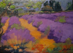 """""""Path Through The Lavender""""  Contemoprary Impressionist Oil Painting of Provence"""