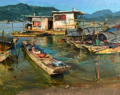 "Modern Impressionist China River Scene ""River Boat Village"" Plein Air Oil"