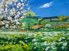 """""""Cabanon In Wildflower Field""""  Modern Impressionist Oil Painting of Provence"""
