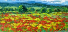 """""""Golden Poppy Field""""  Contemporary  Impressionist Oil Painting of Provence"""