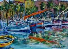 """""""Fishing Boats, Sanary Harbor"""" Contemporary Impressionist Oil Of French Riviera"""