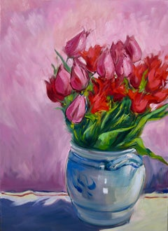"""""""Red Tulips"""" Contemporary Impressionist Still Life In Provence"""