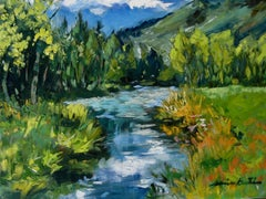 """""""Stream In Laisannay """"  Contemporary Impressionist Oil of French Alps"""