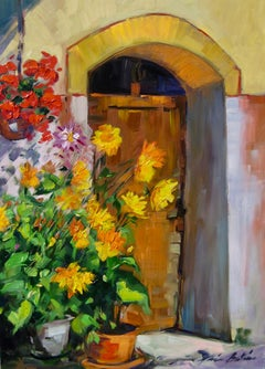 """""""Flowers By Theresa's Door""""  Contemporary Impressionist Oil Painting of Provence"""