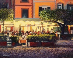"""Night At The Ristorante""  Oil Painting of Italy"