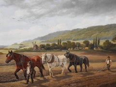 antique victorian oil painting on canvas of plough horses in landscape
