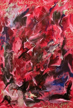 Pink 1,029 - original red abstract painting by Kieva Campbell