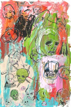 Face to Face - original mixed-media on paper painting by Theohuxxx
