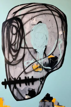 Miss Me Blind - original oversized painting of a skull by Gino Belassen