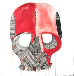 Senza Volto - framed ink on paper painting of a skull by Matthew Floriani