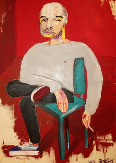 Self - original figurative portrait painting by Bo Bosk