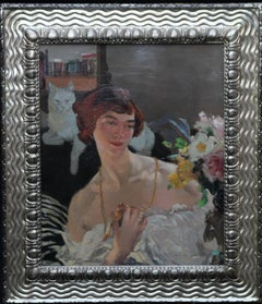 Self Portrait with Cat - Scottish Art Deco oil painting listed female artist