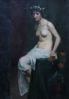 Pre-Raphaelite Beauty - Victorian nude oil portrait British female artist