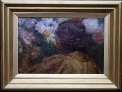 Lady surrounded by Flowers  Victorian Scottish Impressionist oil portrait floral