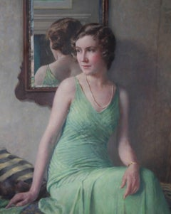 Billy - Kathleen Bell - British Art Deco seated female portrait oil painting