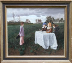 The Examiners - British Surrealist oil painting children landscape