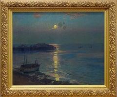 Brighton Pier - British impressionist seascape marine boats nocturne
