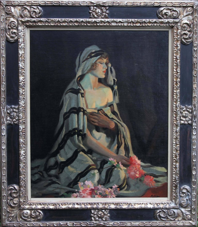 Lost in Thought - portrait oil woman flowers roaring twenties, Australian artist