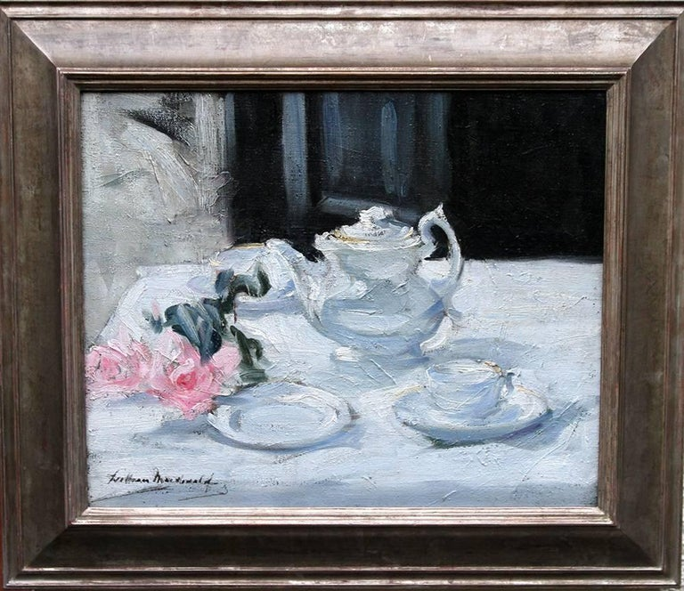 Still Life With Pink Roses - Scottish Impressionist Colourist oil painting. Tea.