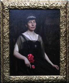 Portrait of a Woman with Tiara and Pearls - British oil painting
