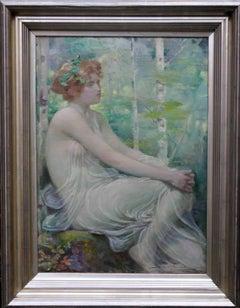 A Welsh Maiden Scottish classical Pre-Raphaelite Victorian oil painting portrait