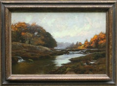 River Lune near Lancaster by Moonlight - British Impressionist oil painting
