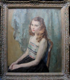 Portrait of a Young Woman Sitting - British Impressionist oil painting interior