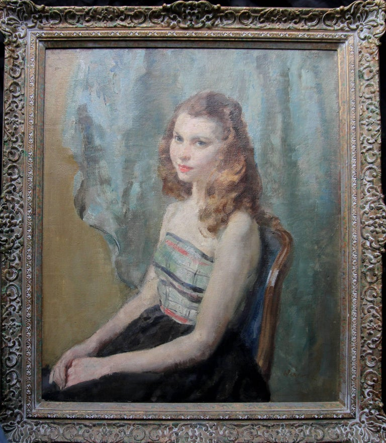 Walter Ernest Webster Portrait Painting - Portrait Young Woman Sitting - British Impressionist oil painting. Early 20thC