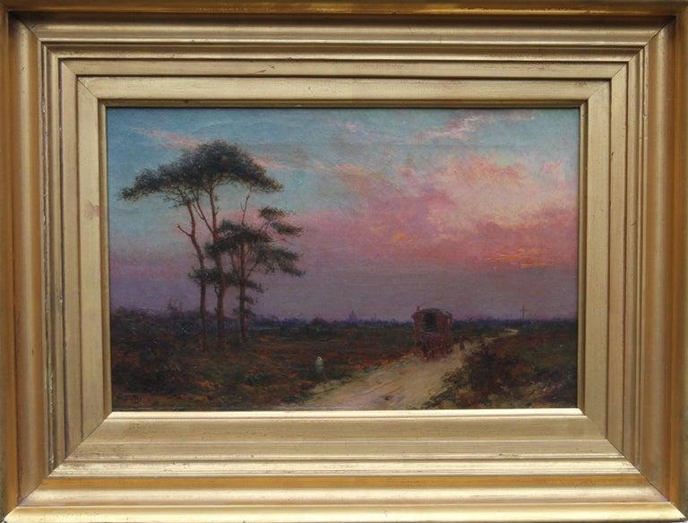 Blackheath with St Pauls - British Impressionist London oil sunset gypsy caravan
