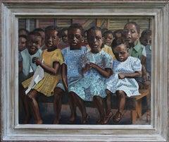 Tomorrow's Africa - British female artist oil painting children in classroom