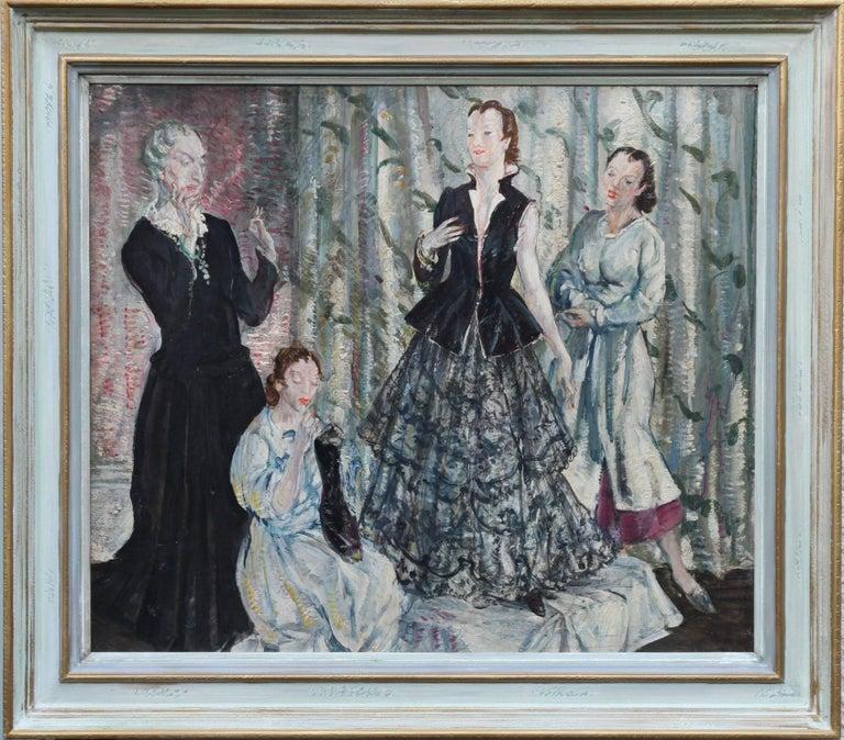 The Fitting - British Impressionist oil painting ladies interior fitting room