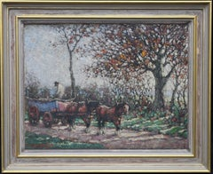 The Harvest - British Impressionist oil painting horses cart landscape impasto