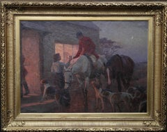 The End of day - British oil painting hunting scene inn hounds horses nocturne