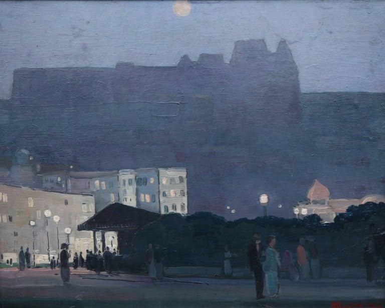 Edinburgh Nocturne - British Impressionist oil painting Scotland moonlight