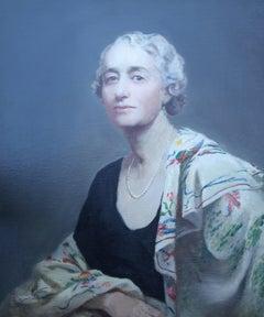 A Portrait of Mrs Willis - British oil painting female artist lady shawl pearls