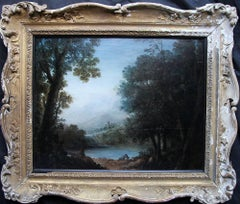 In Need of a Drink - British Old Master oil painting landscape dog lake rider