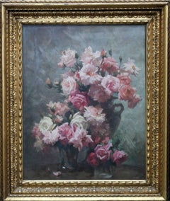 Red and Pink Roses - British Impressionist oil painting large floral vases