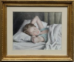 Young Woman Sleeping - British portrait 1920's painting bedroom interior