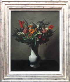 Floral Arrangement - Dutch Art Deco still life oil painting flowers yellow pink