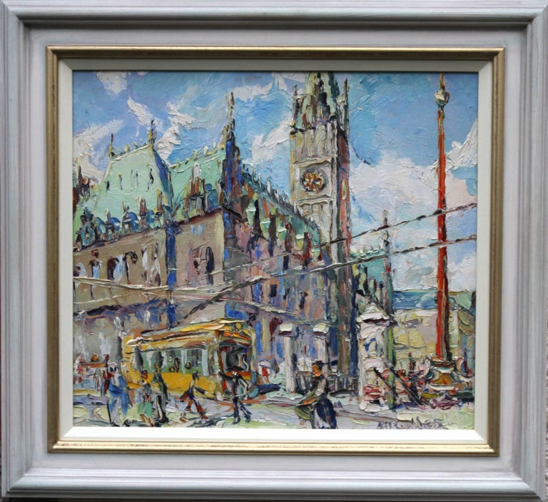 The Alster Hamburg - Scottish Impressionist oil painting German city church tram