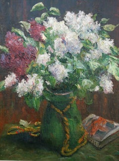 Still life - French-German Impressionist School oil painting Floral white lilac