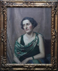Pamela Abercromby - British oil painting portrait lady green dress interior