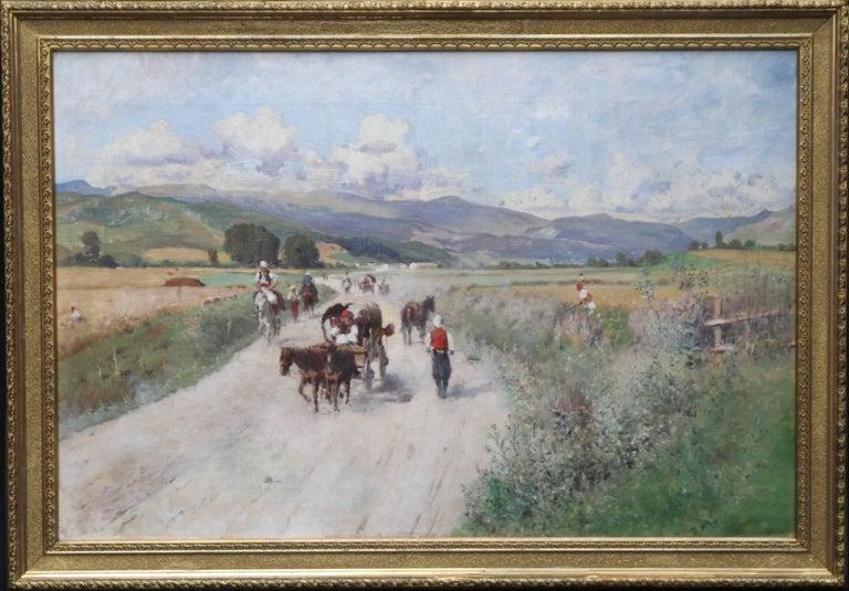 Italian landscape - Austrian Impressionist oil painting hills horse cart people