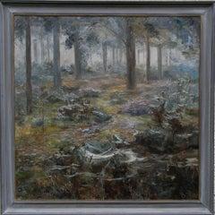 Mystical woodland - British Impressionist oil painting female Suffragette artist