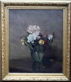 Roses - British oil painting floral still life flowers glass jug white pink red
