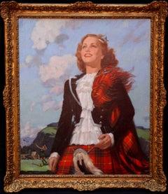 Bonnie Scotland - oil painting Art Deco girl tartan dress Scottish games