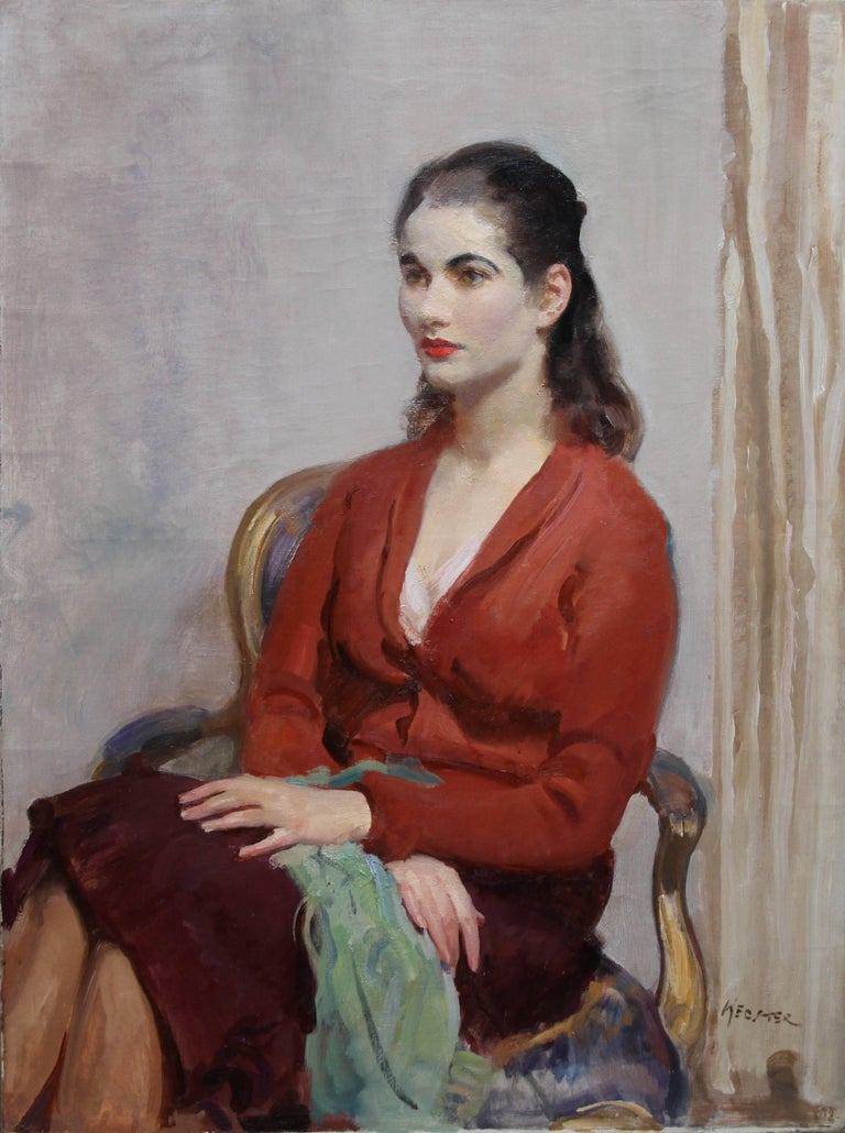 Portrait of a Young Lady in Red -British Impressionist oil painting interior